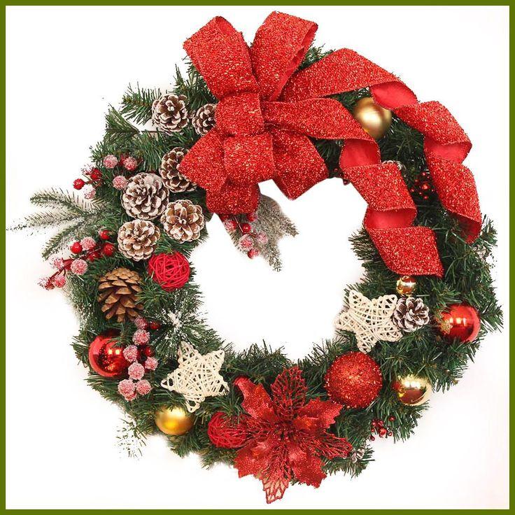 Christmas Wreath Garland Balls Star Ribbon Christmas Decorations For Home Door Wall Ornament decoracion navidad