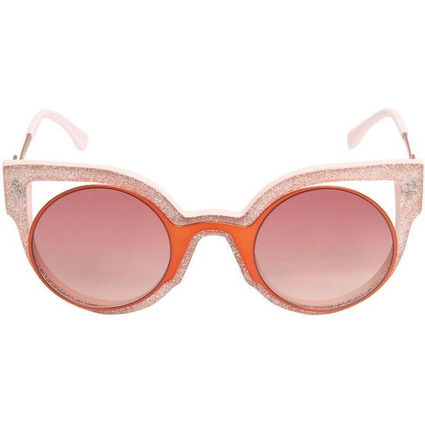 FENDI Glitter Acetate Cat Eye Sunglasses ($487) ❤ liked on Polyvore featuring accessories, eyewear, sunglasses, pink, round glasses, pink cat eye glasses, pink lens sunglasses, round sunglasses et fendi glasses: