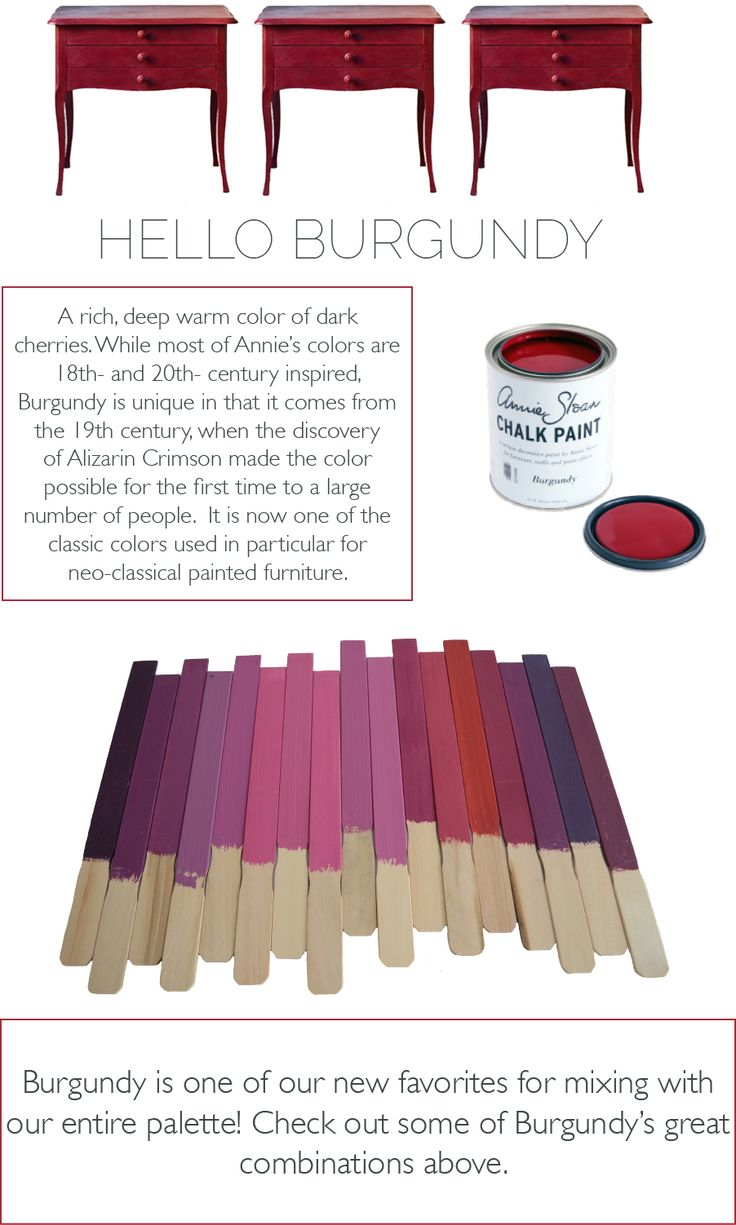 Lovely Color Mixes Made With Burgundy In Chalk Paint By