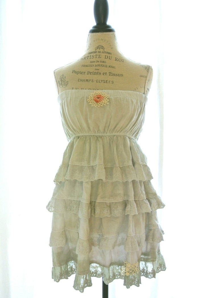 Vintage country ruffle dress, rustic farm girl sundress, cottage chic, romantic womens clothing, upcycled, true rebel clothing. $72.00, via Etsy.