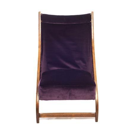 Folding Chair, Aubergine Purple Velvet