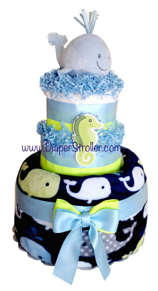Whale Diaper Cake nautical diaper cake whale by DiaperStroller