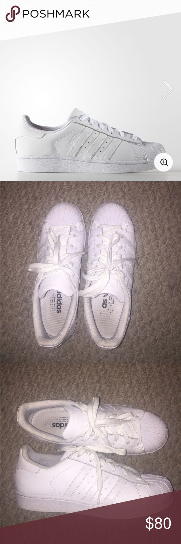 White Adidas Superstars womens, size 8, condition is 7.5/10 worn many times but still in good condition, really wanting to sell at this price so i could buy a another pair because i need a smaller size. reasonable offers will be negotiatied! the soles of the shoe are kind of worn out as shown in the picture. comes with the laces and the box for the shoes!! Adidas Shoes