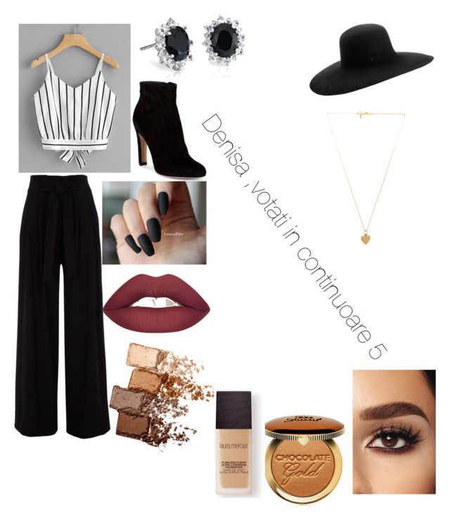 """""""Untitled #34"""" by jade2006 on Polyvore featuring Gianvito Rossi, Maison Michel, Vanessa Mooney, Maybelline, Too Faced Cosmetics, Laura Mercier and Blue Nile"""