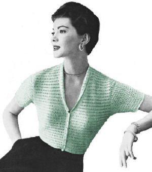 V-Neck Patterned Blouse Vintage Knitting Pattern for download Sz 12-20