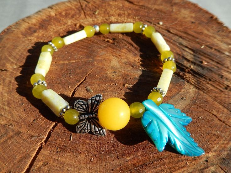 Armband zum Collier Bracelet gelb blau Schmetterling Jaspis Jade Achat Perlmutter Sommer Sommerfest von DeinCharme auf Etsy
