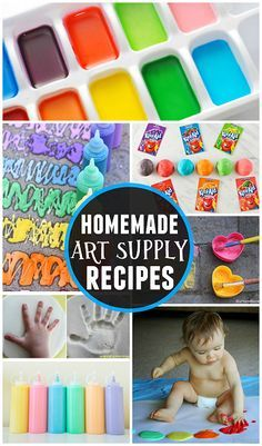 Here is a list of home art supply recipes including homemade paint, chalk, glue, play dough, clay, salt dough, and more for kids!