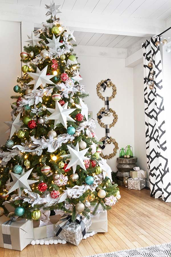 Christmas Decorating Ideas: Varied shapes, patterns and colors by interior designer Sarah Dorsey. | @smdorsey: