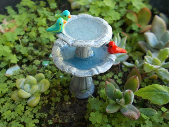 Miniature Tiered Bird Bath Fountain Miniature Fairy Garden Faerie Gnome Hobbit Garden Fae Garden