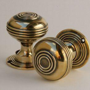 Large Brass Bloxwich Door Knobs £56.80 - Door Hardware - Door Knobs - Metal Edwardian/Georgian 1901- 1953