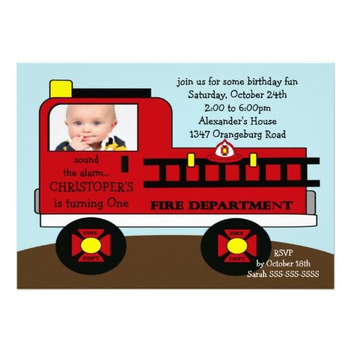 411 best images about Fire Truck Birthday Party Invitations on – Fire Truck Party Invitations