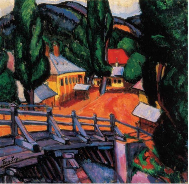 TIHANYI Lajos: Landscape with bridge, 1909