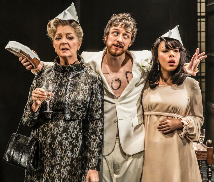 Serena Evans (Lady Claire Gurney), James McAvoy (Jack Gurney) and Kathryn Drysdale (Grace Shelley) in THE RULING CLASS. Photo by Johan Persson ♡ www.LOVEtheatre.com/tickets/4045/The-Ruling-Class?sid=PIN