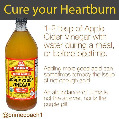 Apple Cider Vinegar for heartburn. #primecoach #health #
