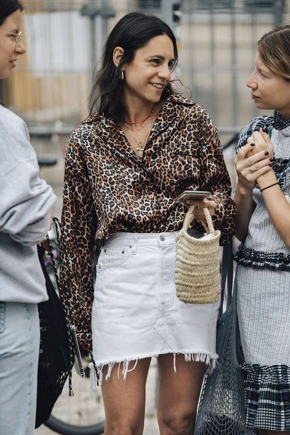 cf5c1a74320 Leopard Outfits Trends to Keep in 2019 Classic Print Leopard Button Down  Blouse White Denim Mini Skirt Frayed Hem Mini Skirt Basket Bag