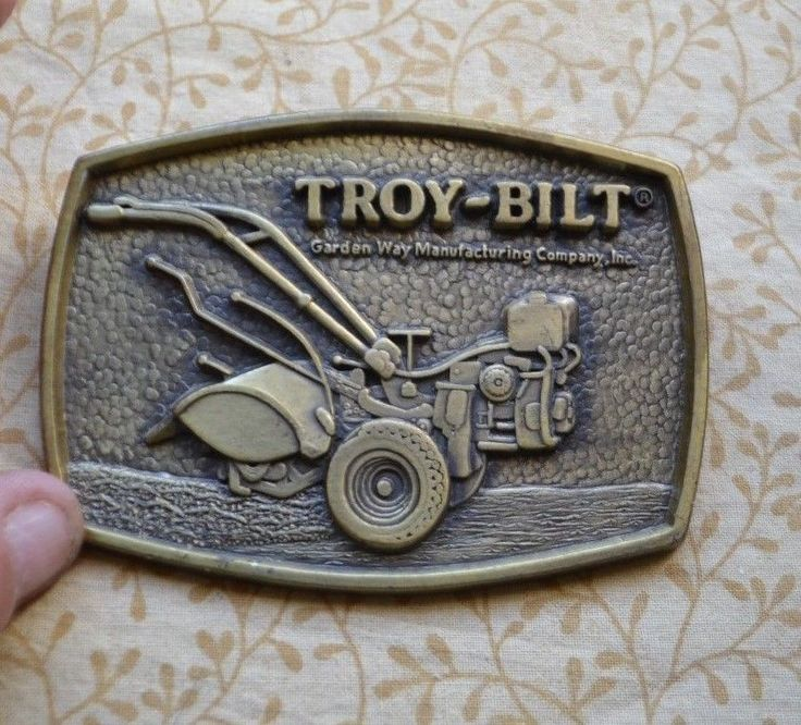 Vintage TROY BUILT Brass Belt Buckle Garden Way Manufacturing Company Inc. #TroyBuilt