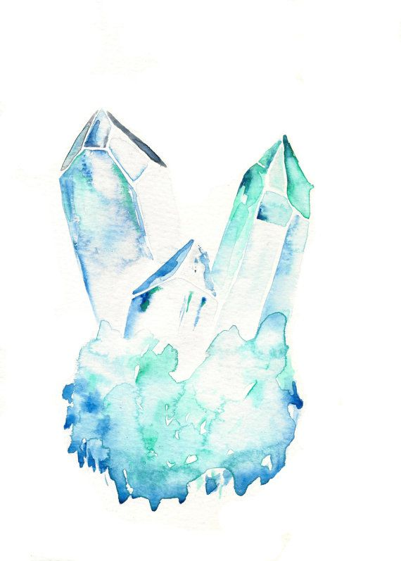 Aquamarine handmade watercolor painting raw crystal for Paintings of crystals