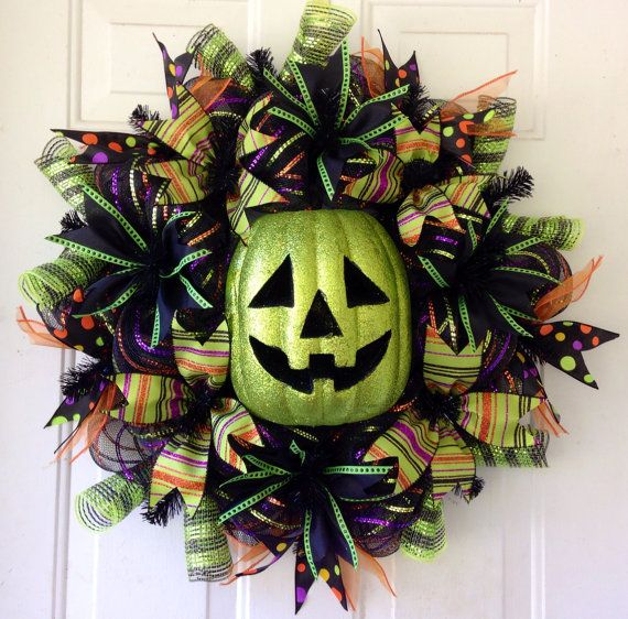 HALLOWEEN SALE!! Whimsical, Lighted Glittered Halloween Pumpkin Deco Mesh Wreath Decoration // Witch Tutu Wreath // Witch Legs // Witch Hat on Etsy, $75.00