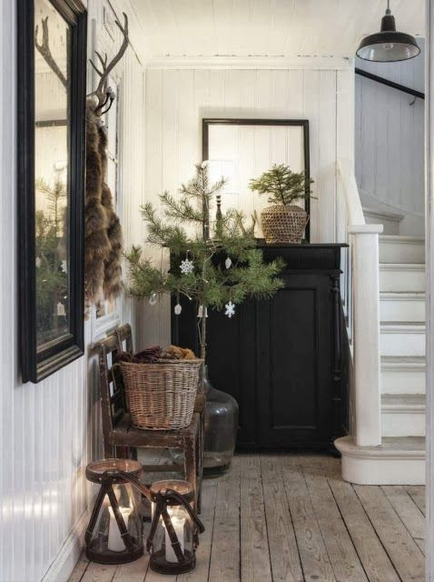 Entryway christmas decorations Christmas decor , white black and green Christmas, white and wood decor