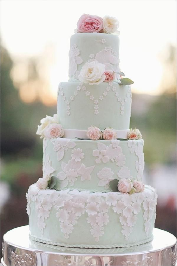 mint blue and pink wedding cake
