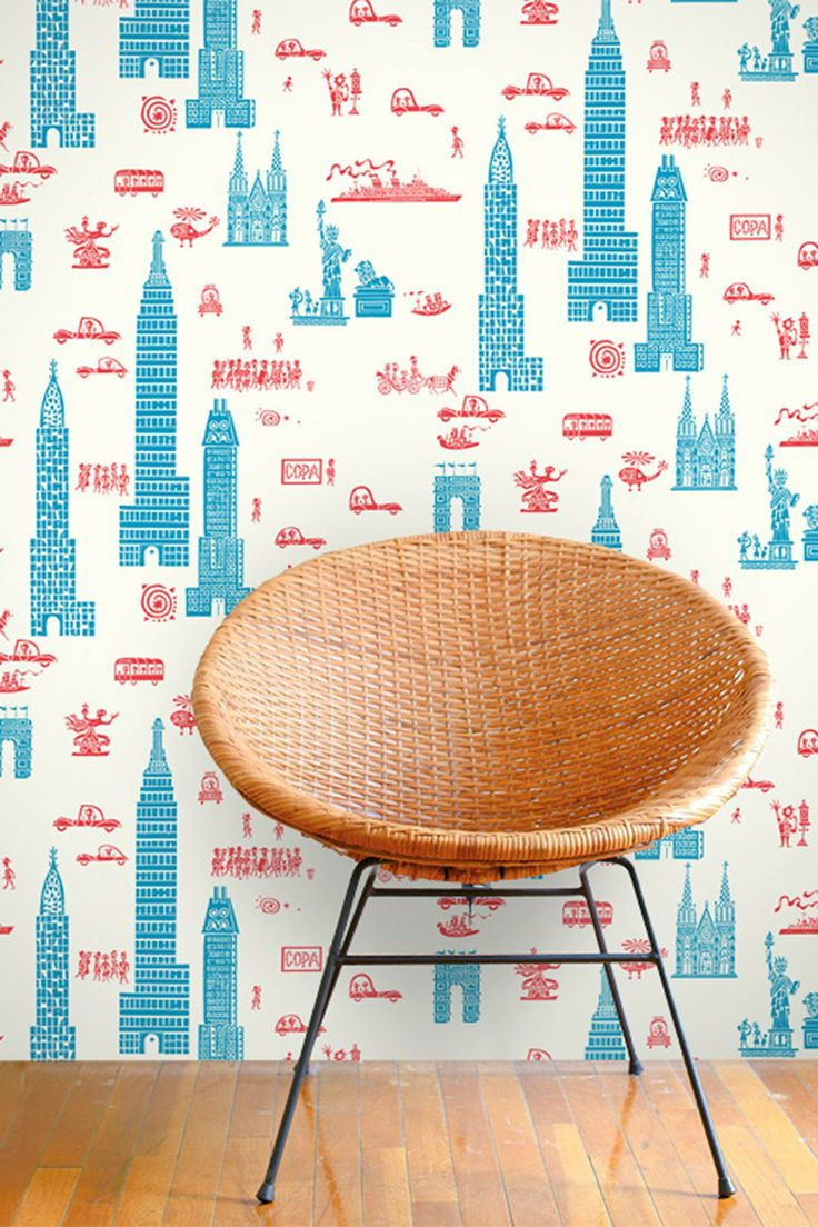 Jim Floras Manhattan Removable Wall Decal  Red & Blue On Hautelook