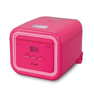 Available in pink or white, the Tiger JAJ-A55U rice cooker with its modern square design, will be a welcome addition to any kitchen. It is small enough to display on a counter, even in the smallest of kitchens. A drop-down front panel reveals the easy-to-use micro-computerized menu settings. Tiger rice cookers with tacook function can cook two dishes simultaneously!.