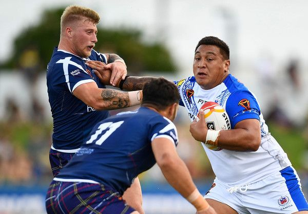 Canberra Raiders Josh Papalii of Samoa looks to make a break during the 2017 Rugby League World Cup match between Samoa and Scotland at Barlow Park on November 11, 2017 in Cairns, Australia.