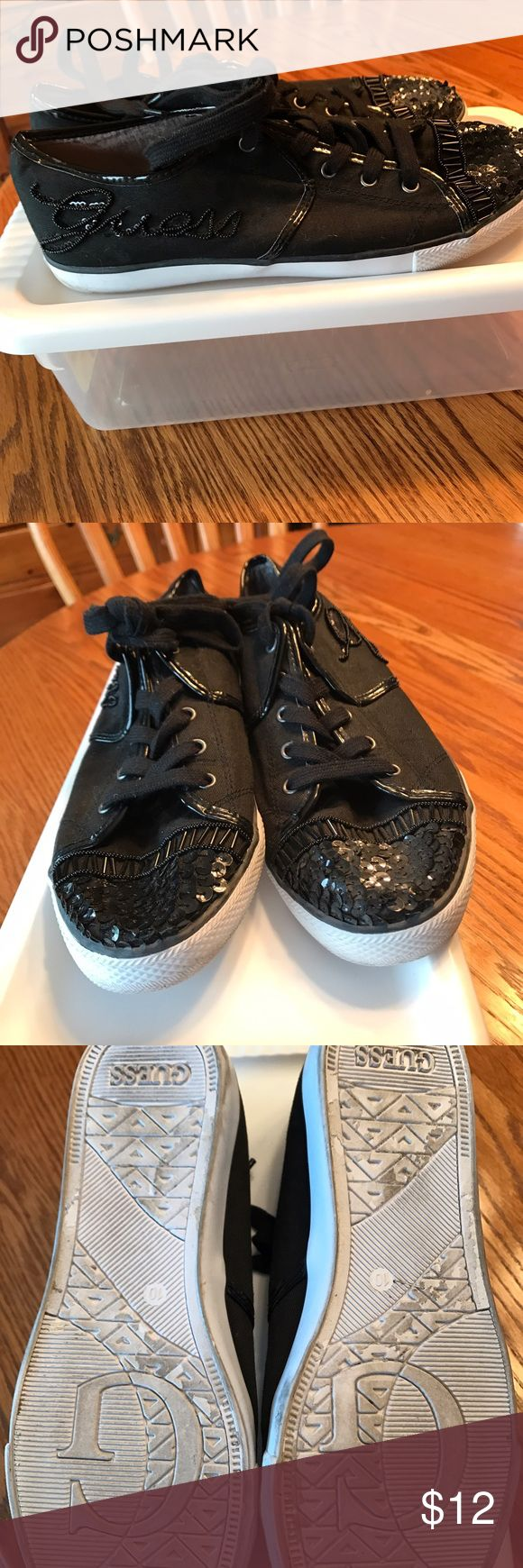 Guess women's tennis shoe Black Guess fashion tennis shoes, worn once, priced to sell. Do not have the box. Smog free home. Guess Shoes Sneakers