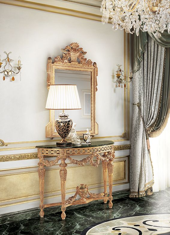 Luxury design frame with mirror and console with marble top