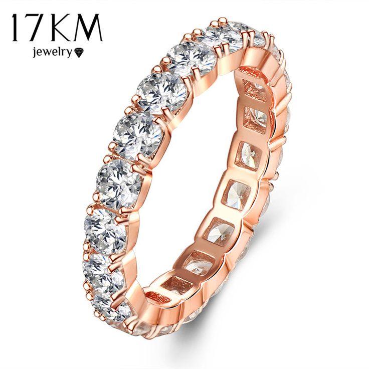 Cor de Rosa de Ouro Crystal Clear Oco Out Mid Anéis Para As Mulheres De Luxo