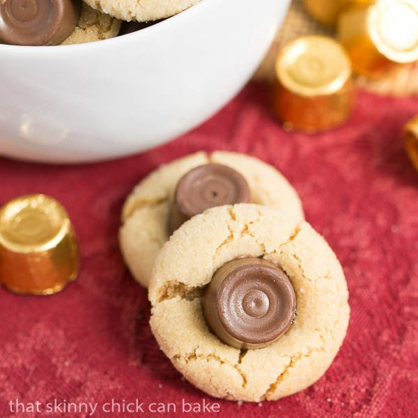 Rolo Peanut Blossoms | Sugar coated peanut butter cookies topped with a chocolate caramel Rolo