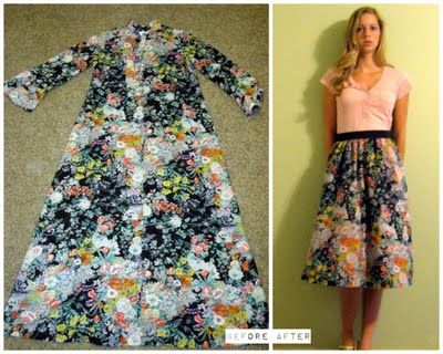 Dress refashioned into skirt