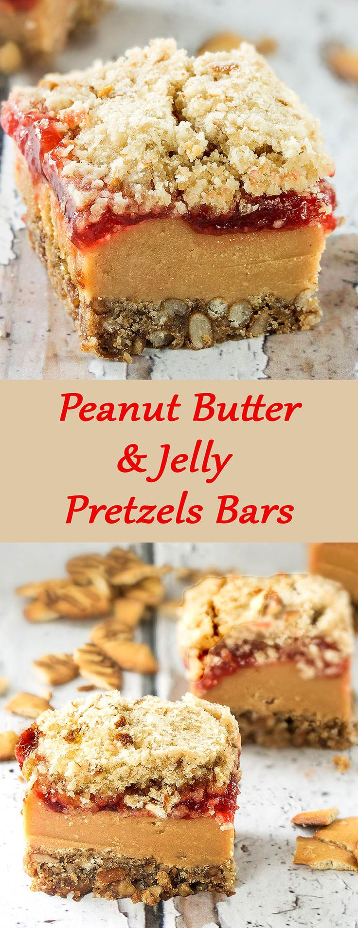Delicious and easy-to-make bars, with a wonderful combination of sweet and salty. Peanut Butter & Jelly Pretzels Bars. #Something Sweet - Winnie's blog%