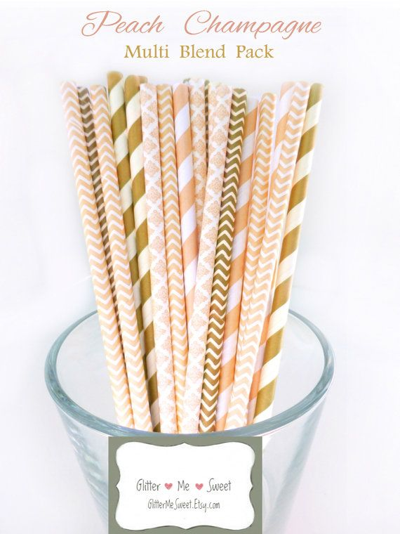 Peach and Gold Party Decor - Peach Paper Straws - Peach Party Straws - Peach…