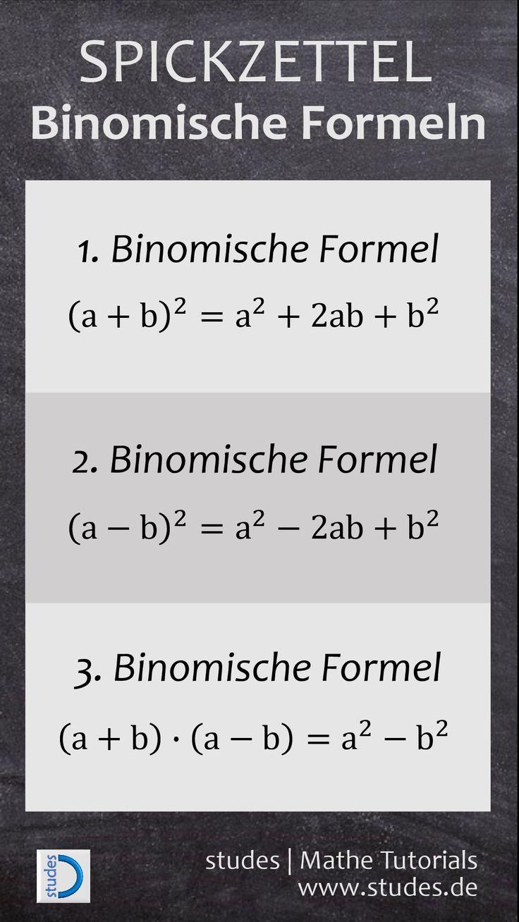 Binomische Formeln | Weitere Spickzettel und Erklärungen auf studes.de #Mathe #…  # Tips