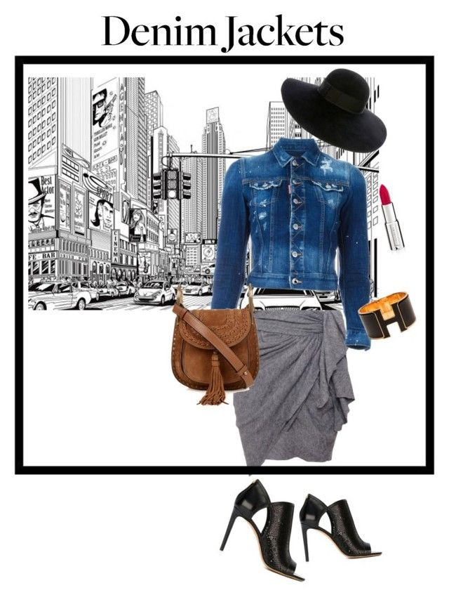 Denim jacket by sarks on Polyvore featuring polyvore, fashion, style, Dsquared2, Isabel Marant, Salvatore Ferragamo, Chloé, Hermès, Eugenia Kim, Givenchy, clothing, denimjackets and WardrobeStaples