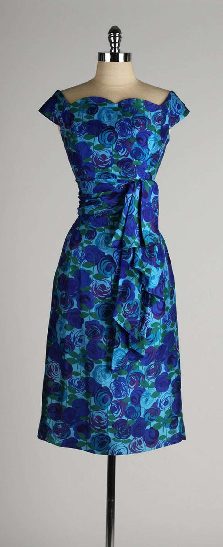Vintage 1950's Gigi Young Silk Floral Dress