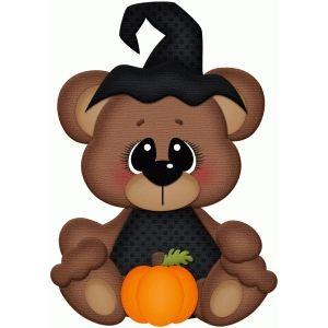 Silhouette Design Store: bear sitting w pumpkin pnc