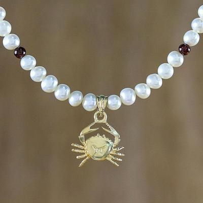 Gold Plated Cultured Pearl and Garnet Cancer Necklace, 'Radiant Cancer'