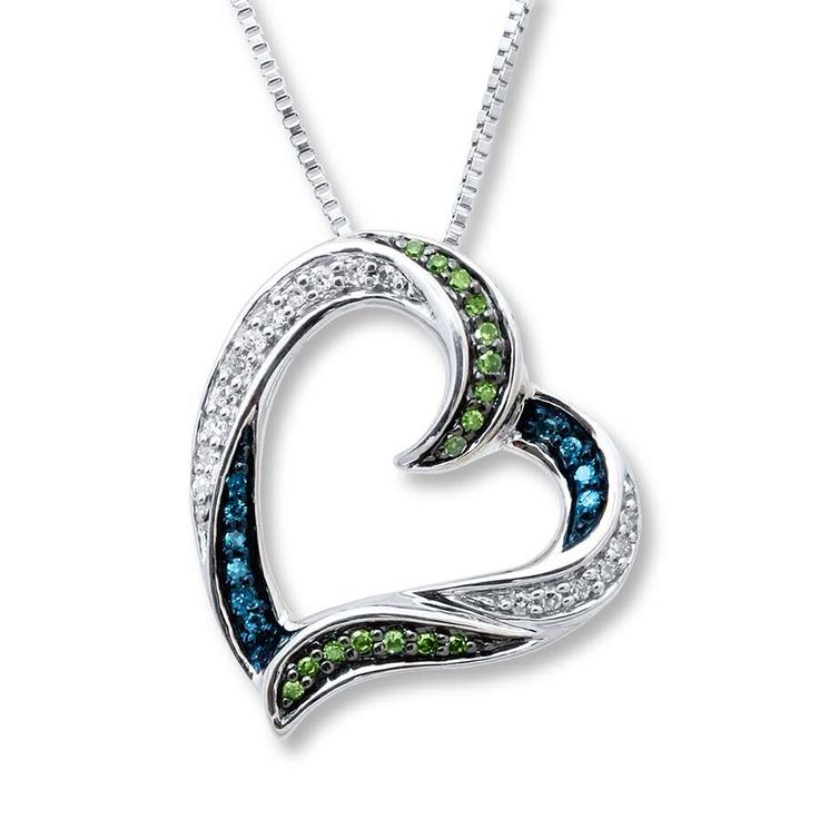 "Zales Jewelry Necklaces >> Blue, green, white diamond heart necklace from Zales | ""I'LL WEAR MY HEART ON MY SLEEVE - or ..."
