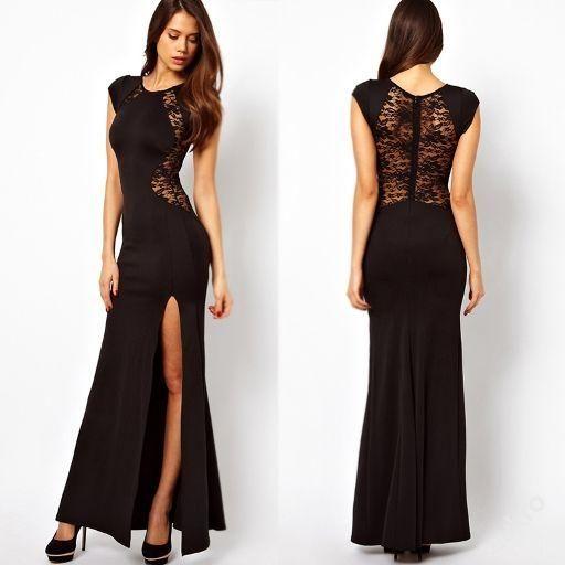 Sexy krajkové dlouhé šaty na ples s rozparkem