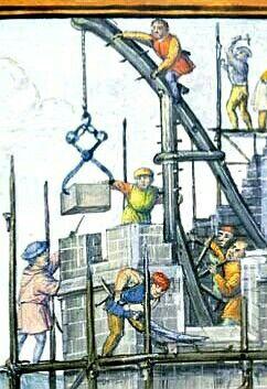 Der Turmbau zu Babel in einer Handschrift aus der Zeit um 1500 illustriert zugleich den Alltag auf einer spätmittelalterlichen Baustelle. Gut zu erkennen sind die Anbringung der Gerüste und die Hebetechnik mit Hilfe von Zangen. (AKG/Erich Lessing)