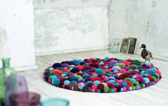 Elegant rugs design-Sweet and Colorful Pompom Chairs and Rugs with Softness by  MYK
