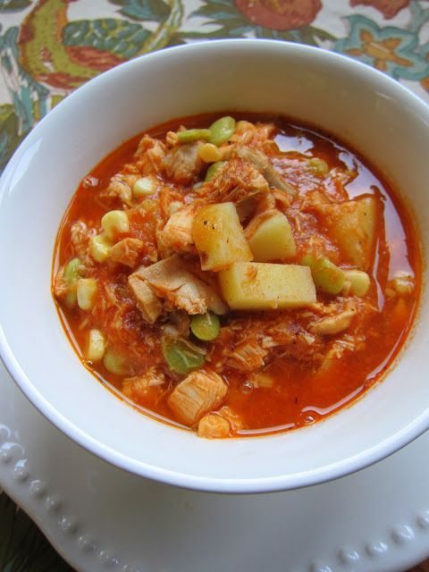 Brunswick Stew - chicken, potatoes, lima beans, corn, seasonings, tomato sauce, chicken broth - AMAZING! Dump in the pot and simmer for 30-45 minutes. SO good! We love to serve this with some cornbread. Freeze leftovers for later!