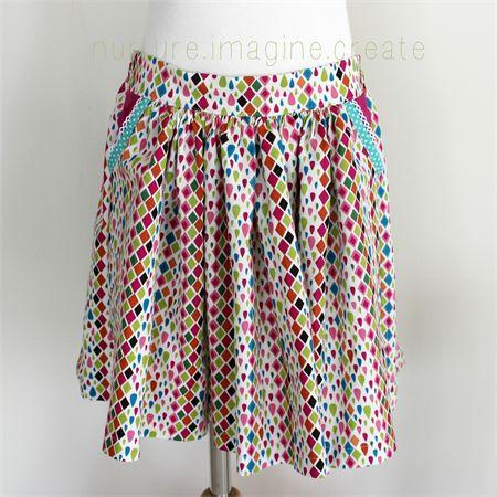 Girls Gathered Skirt, Real Pockets and elastic waist- Choose your size | Nurture.Imagine.Create | madeit.com.au #skirt #girl #handmade #pockets #sew #pattern #pink #teal #bias #nurtureimaginecreate
