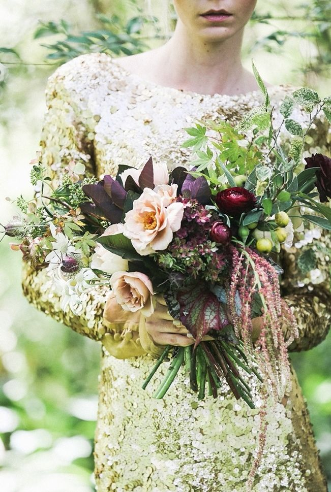 Ophelia: Ethereal Fall Bridal Fashion and Boudoir Editorial - gold dress and dark plum bouquet