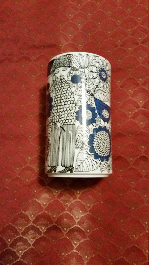 Retro Modern 60's Era Vintage Marked Arabia of Finland Pastoraali Pattern Black Design with Blue Accents on White China Straight Sided Vase
