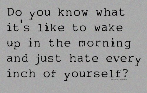 do you know what it's like to wake up in the morning and just hate every inch of yourself?