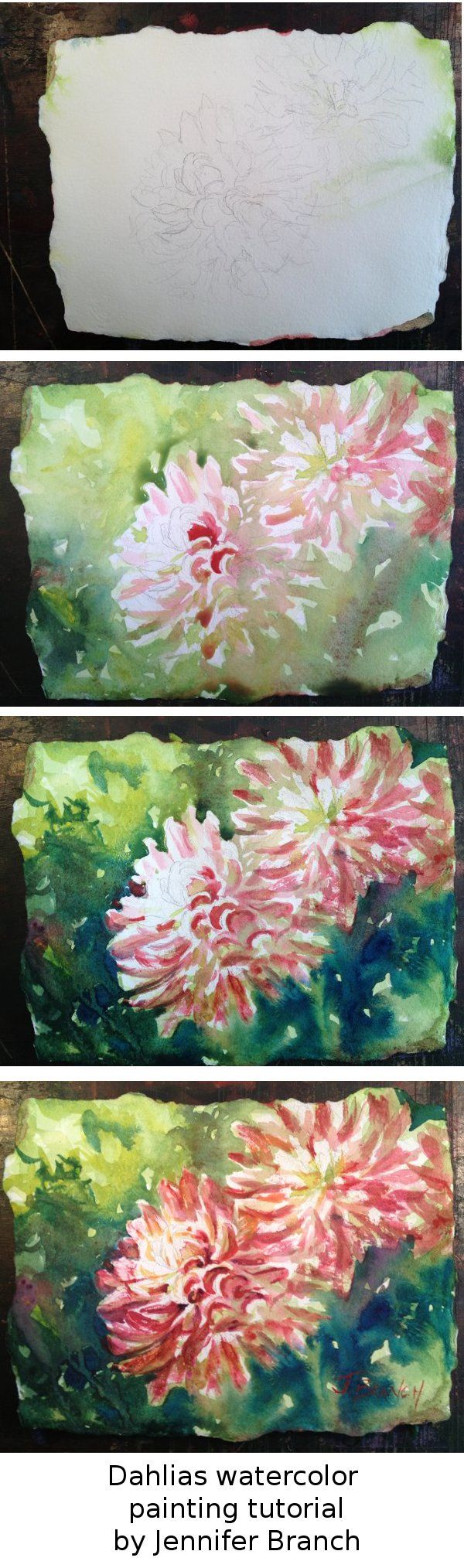 I love having just enough time for a little sketch. Here's a quick watercolor tutorial on how to paint dahlia flowers. Jennifer Branch.