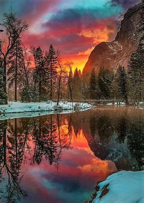 Fiery winter sunset reflection